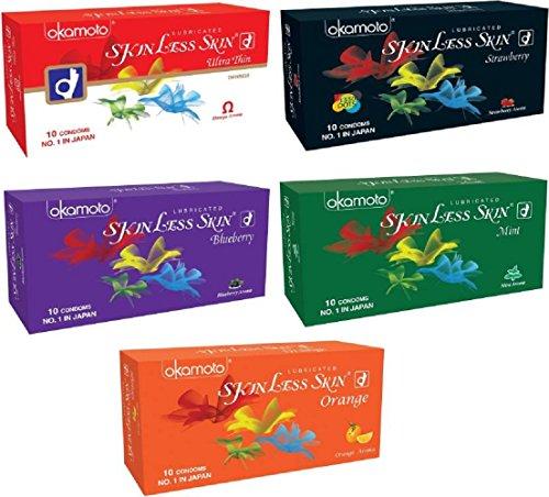 Okamoto Condoms For Men Skinless Skin - Ultra Thin,Strawberry,Blueberry,Mint & Orange (5 x 10s)