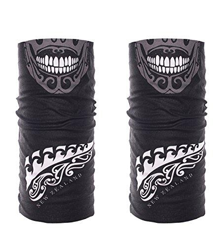 Dirty Ray 2 Stücke Multifunktionstuch Schlauchtuch Mikrofaser Gesichtsmasken Maori Masken Skull KOMIN1