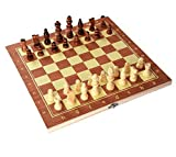 Mimi 13 Inches Light Weight Folding Chess Wooden Chess Set with 32 Pieces