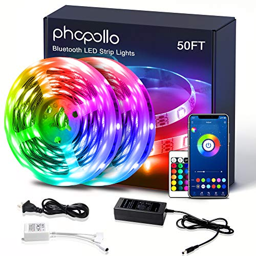 PHOPOLLO Led Lights Bluetooth Color Changing RGB Lighting 50ft Led Strip Lights Sync to Music with App Controller
