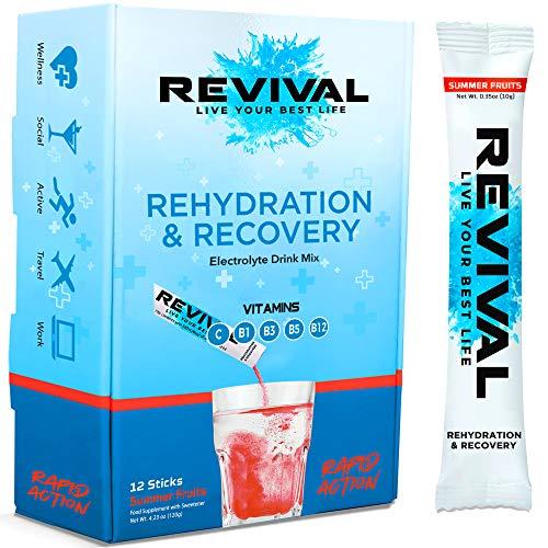 Revival, Rehidratación Rápida: Polvo de electrolitos - Potente Suplemento de Vitamina C, Bebida de Rehidratación, Tabletas Efervescentes para la Hidratación y Resaca Cura - Frutas de Verano 12 Paquete