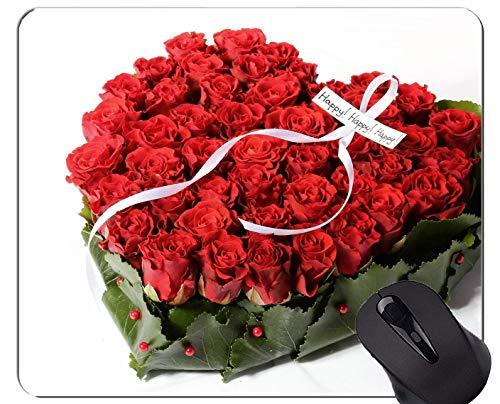 Alfombrilla para ratón Antideslizante, Caucho Natural, rectángulo, Alfombrillas para ratón, Flor roja, Rosa roja, Flor - Bordes cosidos