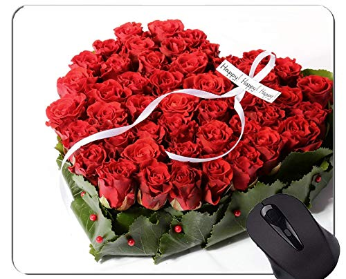 Yanteng Alfombrilla para ratón Antideslizante, Caucho Natural, rectángulo, Alfombrillas para ratón, Flor roja, Rosa roja, Flor - Bordes cosidos
