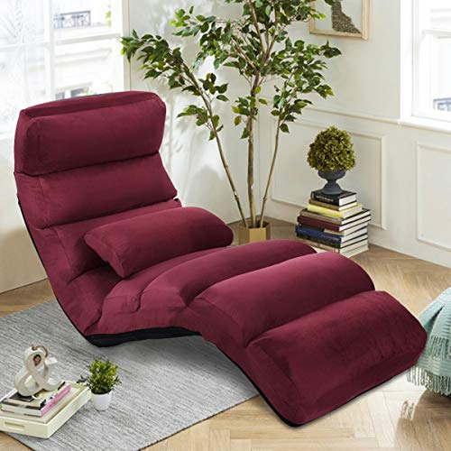 CASART Folding Sofa Bed, 5-Position Adjustable Floor Lounger Sleeper Gaming Chair with Pillow, Padded Seat Lazy Sofa Chair for Bedroom, Living Room and Office (Burgundy)