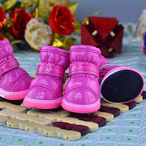 Lppanian Pfotenschutz 4 Teile/Satz Winter Hund Schuhe Wasserdicht Hund Stiefel Baumwolle rutschfeste Für Chihuahua Pet Produkt Socken (Xs-XL) M Rosa