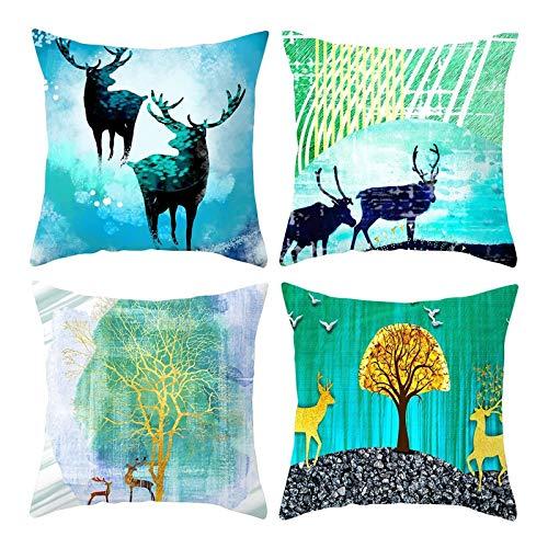 Kihomedy - Funda de cojín decorativa de Navidad, diseño de ciervo y árbol verde para sofá, casa, salón, dormitorio, coche, decoración, 50 x 50 cm