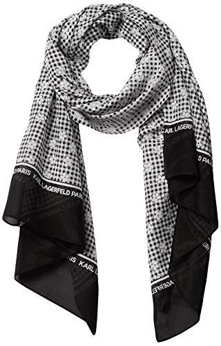 Karl Lagerfeld Paris Damen Daisy Gingham Cotton and Silk Oblong Scarf Schal für kaltes Wetter, schwarz, Einheitsgröße