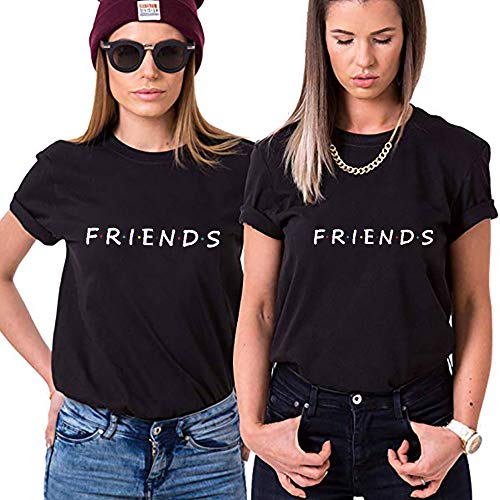 TAAIWO Best Friends t-Shirts Sisters Shirts für Zwei Damen Beste Freundin Mädchen Shirt 1 Stücke BFF Freundschaft Sommer Kurzarm Baumwolle Tops