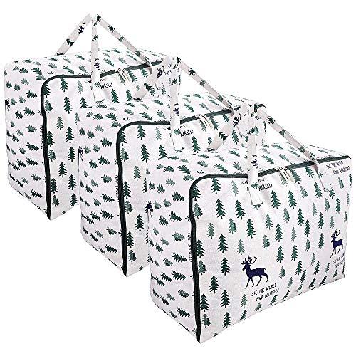 3 Stück Grosse Aufbewahrungstasche für Bettdecken, Kissen, Kleidung, Kleider, Bettwäsche, Bettzeug und Quilt - Faltbare Wasserdichte Große Tragbare Tasche - 75L Groß Kapazität, 60 × 45 × 28 cm (Elk)