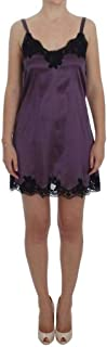 Purple Silk Black Lace Lingerie Dress