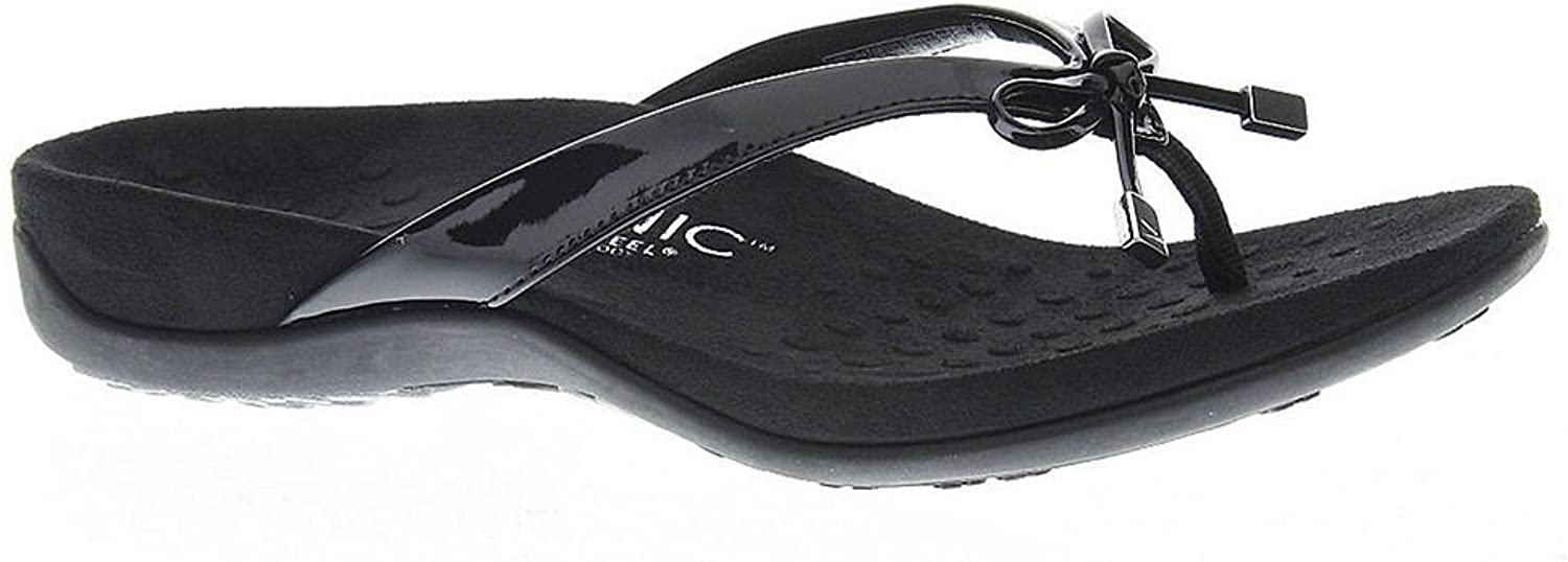 Vionic Women's Bella Toe Post Sandal Narrow in Black