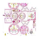 Himeland 90-teilig Einhorn Party-Set Pink Mädchen Einhorn Geburtstag Geschirr Kit für Geburtstagsfeier Kindergeburtstag Baby Shower Party Partygeschirr Teller Becher Strohhalme Tischdecke - 4