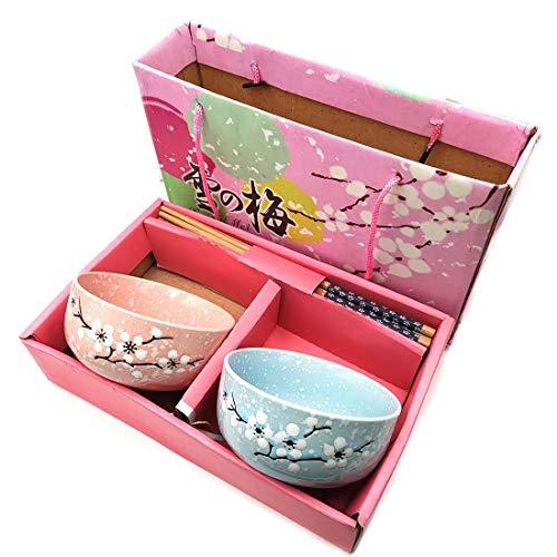 Vajilla para 2 personas de porcelana, 2 cuencos para sushi, juego de cuencos redondos con palillos chinos, vajilla de diseño japonés con caja de embalaje