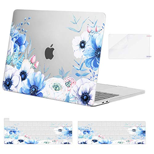 MOSISO Compatible with MacBook Pro 13 inch Case 2020 2019 2018 2017 2016 Release A2251 A2289 A2159 A1989 A1706 A1708, Plastic Myosotis Hard Shell Case&Keyboard Cover Skin&Screen Protector, Transparent