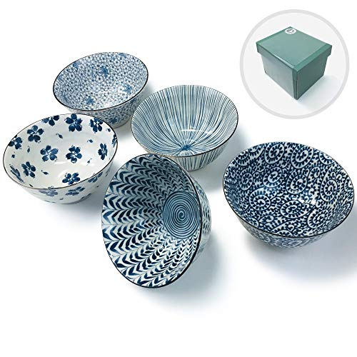 Japanese Mino Ware Chawan 5.0 inches Rice Bowls 5 patterns with Gift Box set, ceramic mino yaki