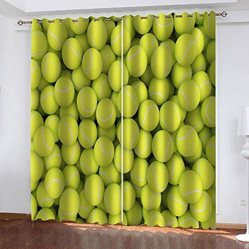 XDJQZX Tende Oscuranti Camera Da Letto Bambini 2 Pannelli 260 X 240 Cm Motivo Stampati In Stampa Tennis Verde 3D Tenda Con Occhielli Termica Isolante, Soggiorno Decorazione Da Finestre