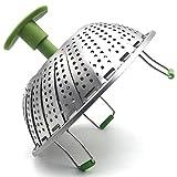 SODIAL Cesta de Vapor Cesta de Vapor de Verduras de Acero Inoxidable Inserto de Vapor Plegable para cocinar con Pescado y marisco Vegetariano (el diametro Maximo de 28 cm)