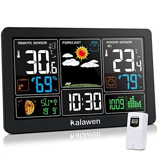 Kalawen Weather Station with Outdoor Indoor Sensor, MSF Wireless Digital Alarm...
