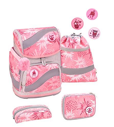Belmil ergonomischer Schulrucksack Schulranzen Set 5 -teilig für Mädchen 1-4 Klasse Grundschule mit Patch Set/Brustgurt, Hüftgurt/Magnetverschluss/Grau, Pink (405-51 Owl Silver)