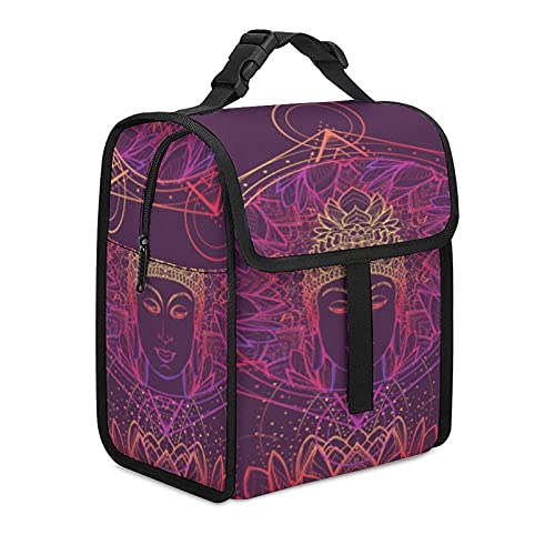 Lunch Bag Buddha Meditating in The Single Lotus Position Hexagram Representing Vector Reusable Waterproof Insulated Lunch Tote for Woman Man Kids Work Nurse Teacher Outdoor Travel Picnic with zipper t