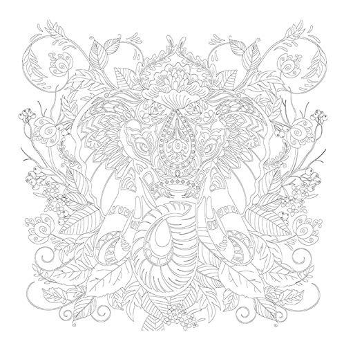 Honsell- Cornice Elefante, Formato 30 x 30 cm, Motivo prestampato da colorare con Colori acrilici, acquerelli e ad Olio e pennarelli e matite Colorate Bianco, 12134
