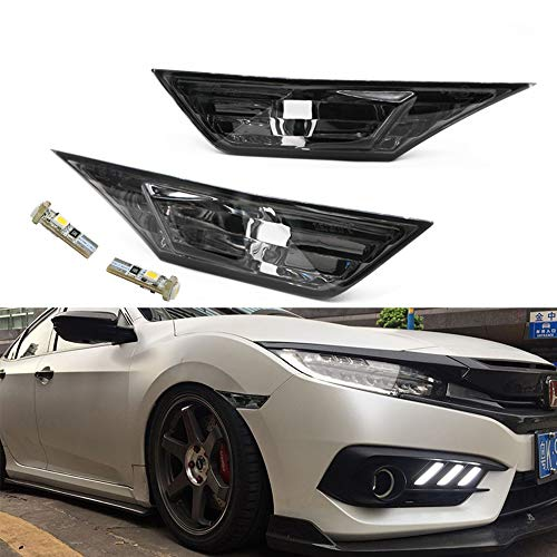 NSLUMO Front LED Side Marker Lights for Honda Civic 10th Gen 2016-2021 Coupe Hatchback With 2Pcs T10 Light Bulbs OEM#H02551127N
