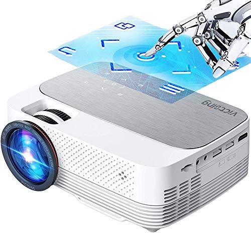 Proyector WiFi Bluetooth[con Pantalla Táctil], VictSing 6000 Lúmenes Mini Proyector Portátil Soporta Full HD 1080P,80000 Horas Proyector WiFi LED en Casa Android/iOS/TV Stick/HDMI/VGA/USB/TF/AV