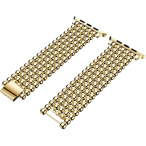 YYCHER Correa para Apple Watch de 38 mm, 40 mm, 42 mm, 44 mm, estilo de cuentas de acero inoxidable para pulsera Iwatch 1, 2, 3, 4 y 5 (color de la correa: oro, ancho de la correa: 42 mm y 44 mm