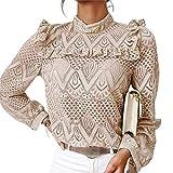 Blusa Donna Camicia Top in Pizzo Elegante Vintage a Maniche Lunghe Collo Alto per Primavera/Autunno