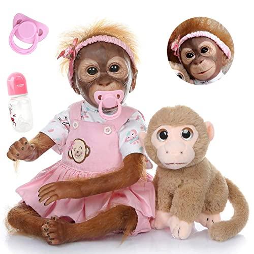 ZIYIUI Mono Reborn Muñecas 21 Pulgadas 52 cm Silicona Suave Vinilo Bebé Reborn Mono Niño Hecho a Mano Cuerpo Completo Realista Reborn Doll Juguetes