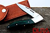 DURA KNIVES Dk-57 Green Wood 4'' inches Folded Original Laguiole Folding Custom Handmade Stainless Steel Blade Pocket Knife 100% Prime Quality Plus Beautiful Stainless Bolster Limited Edition