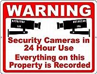 警告24時間監視ティンサイン壁鉄絵レトロプラークヴィンテージ金属シート装飾ポスター面白いポスター吊り工芸品バーガレージカフェホーム