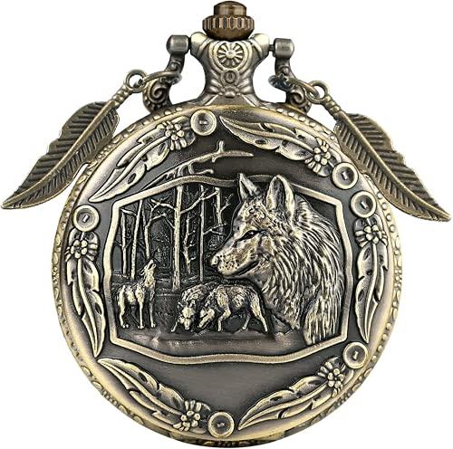 Reloj de bolsillo de cuarzo – Escultura retro 3D de lobo salvaje, bronce, reloj de bolsillo con...