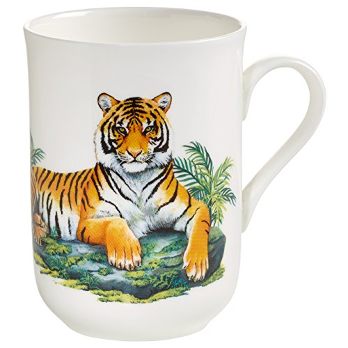 Maxwell & Williams Animals of The World Tiger, Geschenkbox, Porzellan, PBA0007 Becher, weiß, bunt, 10.5 x 7.5 x 10.5 cm