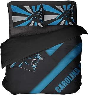 Sports Football Bedding Sheet Modern Carolina Diagonal Lines Stripe Bed Sets for Men Full (Style, Twin-3pcs)