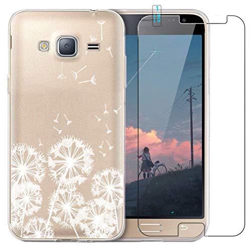 Funda Samsung Galaxy J3 2016,con Protector De Pantalla De Cristal Templado Transparente diseño TPU Parachoques Protectora a Prueba de Golpes Funda Trasera para Samsung Galaxy J3 2016