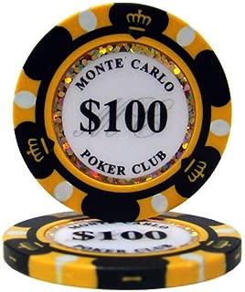 【ノーブランド品】モンテカルロ 13.5g ポーカーチップ 25枚セット ブラック $100