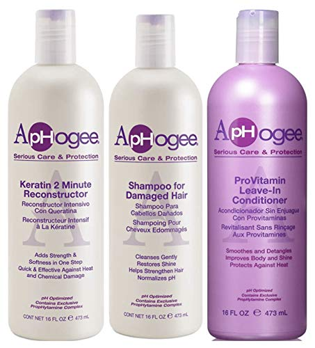 Aphogee Keratin 2 Minute Reconstructor with Shampoo for Damage Hair & ProVitamin Leave-in Conditioner