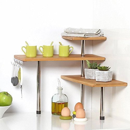 SECRET DE GOURMET Bamboo And Stainless Steel Corner Shelf Unit–Kitchen–Bathroom–Desktop–Perfect Space-Saving Idea. by