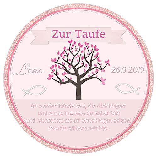 Tortenaufleger Tortenbild Taufe rosa Lebensbaum Mädchen sofort frei gestalten den Wunschtext essbar Ø 20cm 650