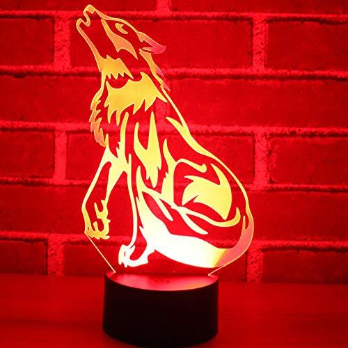 3D Lámpara Decoración Aullido de loboLámpara LED Toque el Interruptor de Mesa Decoración del Hogar Mejor Regalo para El Festival