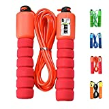 Finger Ten Salto electrónico de conteo de cuerdas Fitness Sport, saltar la cuerda Fitness ejercicio velocidad rápida conteo automático (Rojo)
