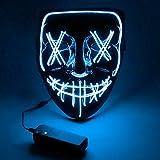 Sylanda LED Maske mit 3 Blitzmodi, EL Wire Cosplay Maske Purge Mask für Halloween Fasching Karneval Party Kostüm Cosplay Dekoration