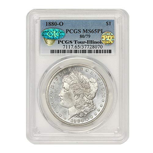 1880 O 80/79 American Silver Morgan Dollar MS-65 Proof Like PQ Approved Illinois Set by CoinFolio $1 MS65PL PCGS/CAC