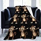 Extra Soft Sherpa Flannel Throw Blankets Poncho Cloak for Sofa Couch Winter/Autumn, Oversized Throw Wearable Cuddle (Dabbing Monkey, 40'x50')