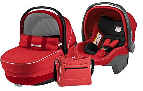 Peg-Pérego Modular XL–Set di navicella, seggiolino auto, gruppo 0/borsa rosso (Sunset)