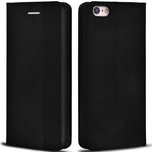 Aicoco Schutzhülle für Apple iPhone 6/6S 4,7 Zoll Leder Hülle Flip Case Handyhülle - Schwarz