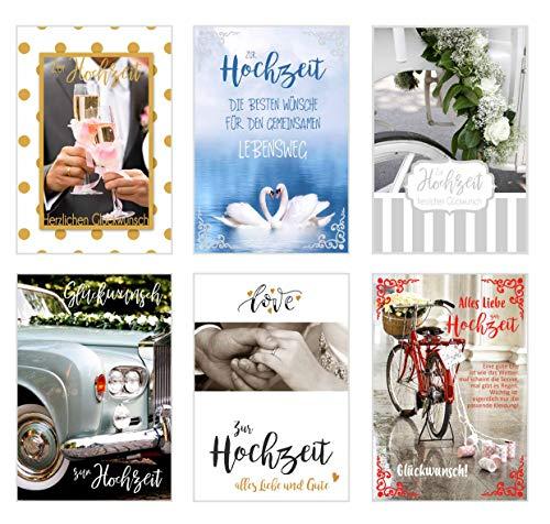 Edition Seidel Set 6 hochwertige Designer Premium Hochzeitskarten mit Umschlag. Glückwunschkarte zur Hochzeit. Karte Geschenk Geld Geldgeschenk (Doppelkarten mit Briefumschlag) (Set Gefühle)