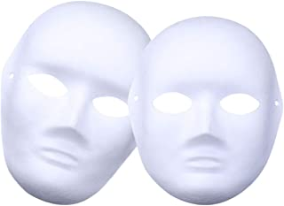 24Pcs Full Face Party White Mask Paintable Paper Mask White Plain Mask for Mardi Gras DIY Creativity Masquerade Parties