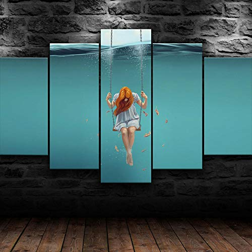 AWER Mural Moderno 5 Piezas Chica vida submarina Frame Pinturas Arte de Pared Impreso en HD Dormitorios Decoración para El Hogar -No Tejido Lienzo Impresión